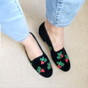 Vintage Christmas Velvet Flats Holly Ivy Shoes